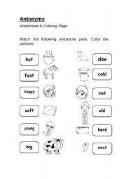 antonyms worksheet u0026 coloring page