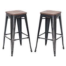 out door bar stools amazon com merax 30 high backless metal indoor outdoor bar