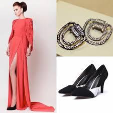 split side prom dresses 2015 beaded earrings black white shoes