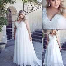 2016 plus size wedding dresses deep v neck lace top white chiffon