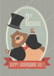 groundhog day cards happy groundhog day card with groundhog stock vector da6kin
