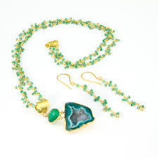 gold green necklace images Green geode pendant and chrysoprase gold chain necklace la isla jpg