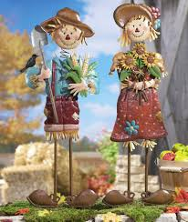 thanksgiving outdoor decorations seasonal fall yard art scarecrow couple 29 metal scarecrow