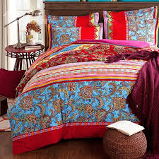 King Size Brushed Cotton Duvet Covers Colorful Stripes And Jacobean Print Boho Style Cotton 4 Piece