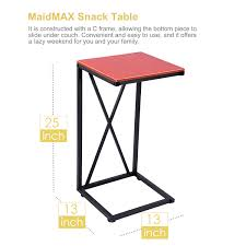sofa c table snack table maidmax 25 inch high c shaped sofa side end table