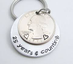 25 year anniversary gift mens personalized anniversary gift personalized keychain