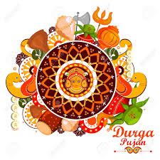 doodle edit easy to edit vector illustration of happy durga puja india