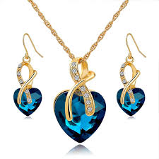 crystal heart necklace images Women crystal heart necklace and earrings set great deals jpg