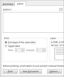 create return address labels word
