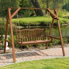 exterior brown wooden porch swing a frame using wooden seat with