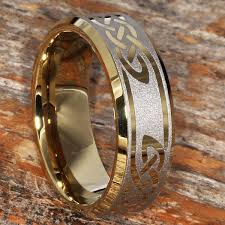 Viking Wedding Rings by Gold Celtic Tungsten Wedding Bands Polished Laser Engraved And