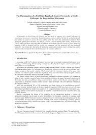 the optimization of a full state feedback control system for a
