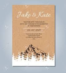 modele carte mariage invitation de mariage de montagne vector carte rustique modèle