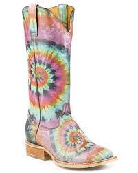 women u0027s groovy tie dye sole boots u2013 skip u0027s western outfitters