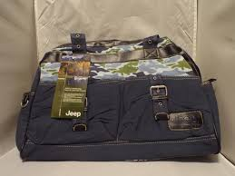 jeep navy blue sports pockets duffle diaper bag navy blue camo and black yellow