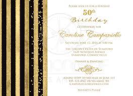 50th birthday invitation black white gold stripes faux