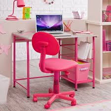 pink polished metal desk for kid room with open shelves and pink