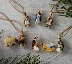 mini nativity ornaments set of 8 pottery barn