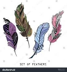 feathers design zentangle hand drawn feathers stock vector