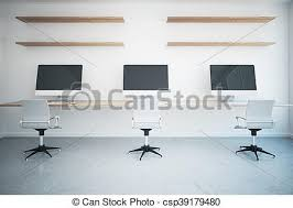 bureau vide coworking moniteurs bureau vide haut bureau étagères