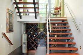Wakefield Wine Cellar - awesome contemporary wine cellar under the sleek staircase hupehome