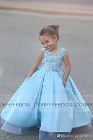 2016 latest said mhamad light blue flower girls dresses v neack