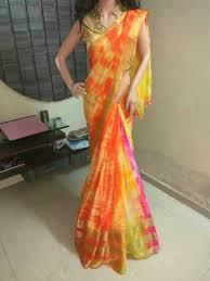 Color Image Online by Multi Color Shibori Saree Buy Online Multi Color Shibori Sarees