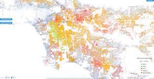los angeles suburbs map racial dot map in la highlights segregation by neighborhood huffpost