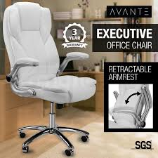 white faux leather executive premium office chair by avante