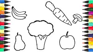 drawing and coloring fruits and vegetables learn names of
