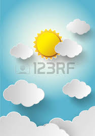 vector sun with clouds background paper cut style royalty free
