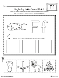 letter f beginning sound picture match worksheet