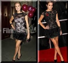 emma watson u2013 lipsy black lace feather dress zoom in