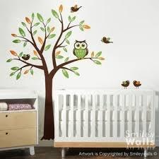 Nursery Owl Wall Decals Nursery Wall Decal Birds Owls Squirrels Swirly Tree Wall Three