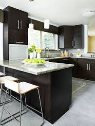 Floor Kitchen Cabinets dark cabinets grey countertops and light wood floors for the
