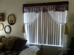 interior large vertical white blinds decor with gray loose