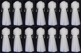 tulle decorations set of 14 14 x36 ivory or white tulle wedding bows pew bows