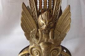 vintage brass fireplace screen folding fan peacock style