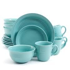 thanksgiving dinnerware tableware gibson mainstays aqua rainforest 16 piece round dinnerware set