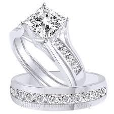 Wedding Ring Trio Sets by 3 65 Ct Princess Cut 3 Pcs Engagement Wedding Ring Trio Set Solid