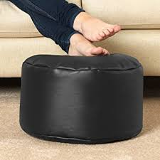 round footstool faux leather bean bag foot rest black amazon