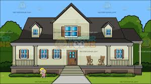 House With A Porch A Shaking In Horror At A House With Big Front Porch Cartoon