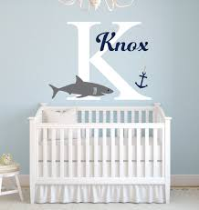 initial home decor personalized name shark wall stickers for boys bedroom baby nursery