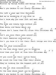 lonely christmas call by george jones counrty song lyrics and chords