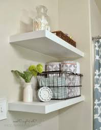 diy bathroom storage ideas two round drop in sinks grey color wall