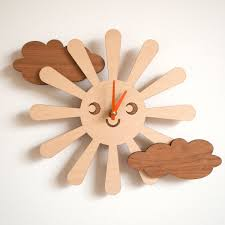 wooden happy sun clock kids nursery clock sun by graphicspaceswood