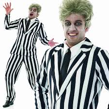 mens striped suit ghost halloween fancy dress costume 1980s scary