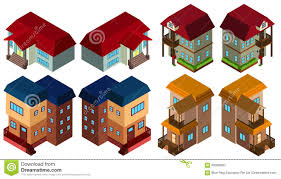3d design for different styles of houses stock vector image