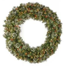 pre lit wreaths with pine cones