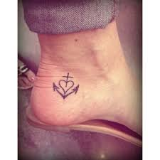 little cross heart anchor tattoo on foot tattooshunt com